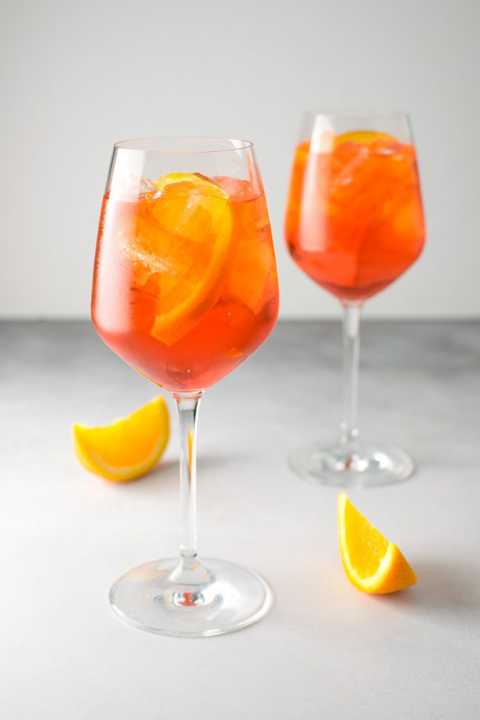 Wine glass filled with Aperol