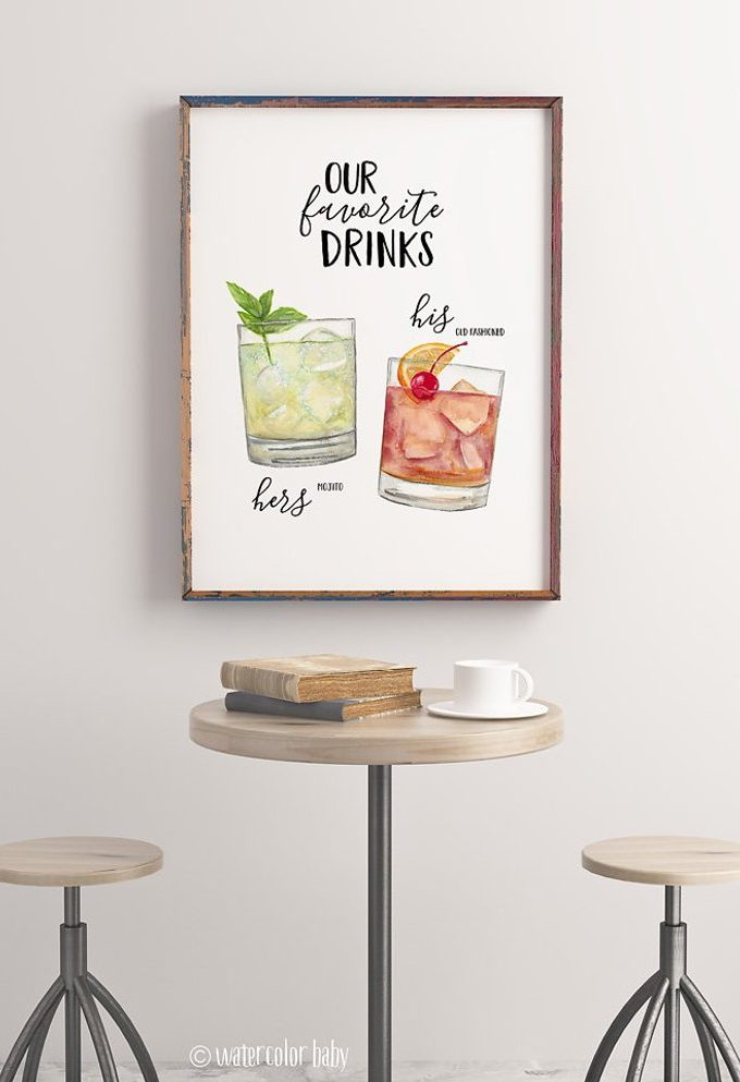 hand painted cocktail sign with two drinks