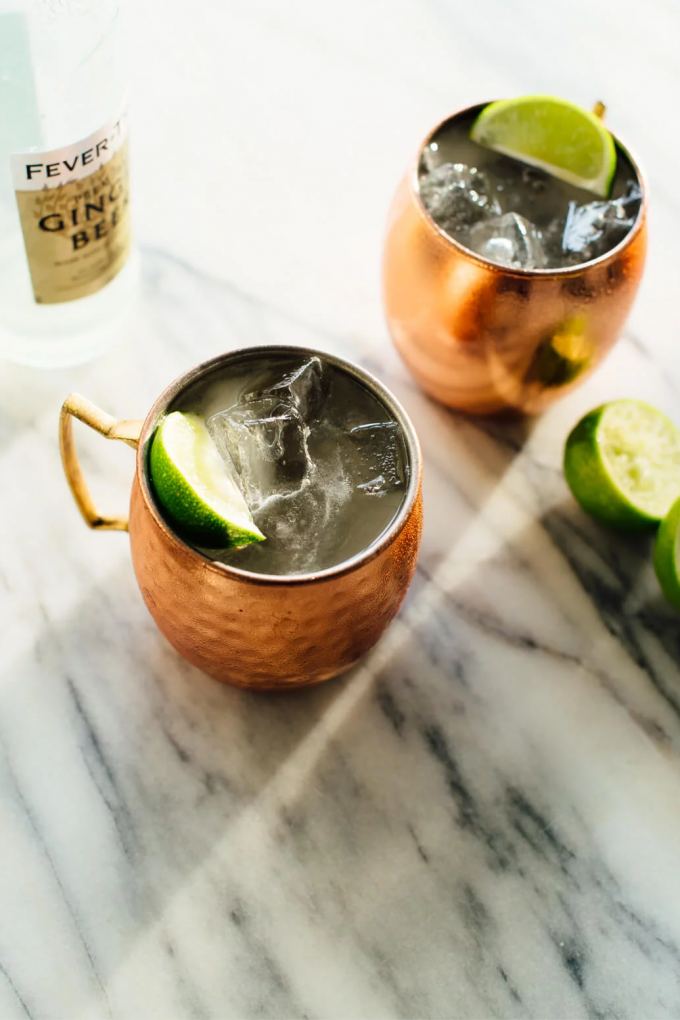 Copper mug with lime and vodka